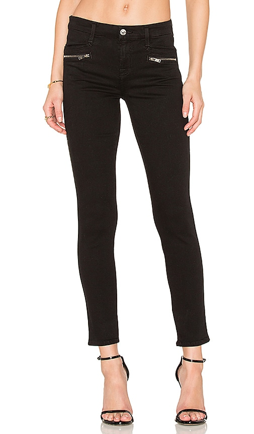 7 For All Mankind The Zip Front Ankle Skinny in Black