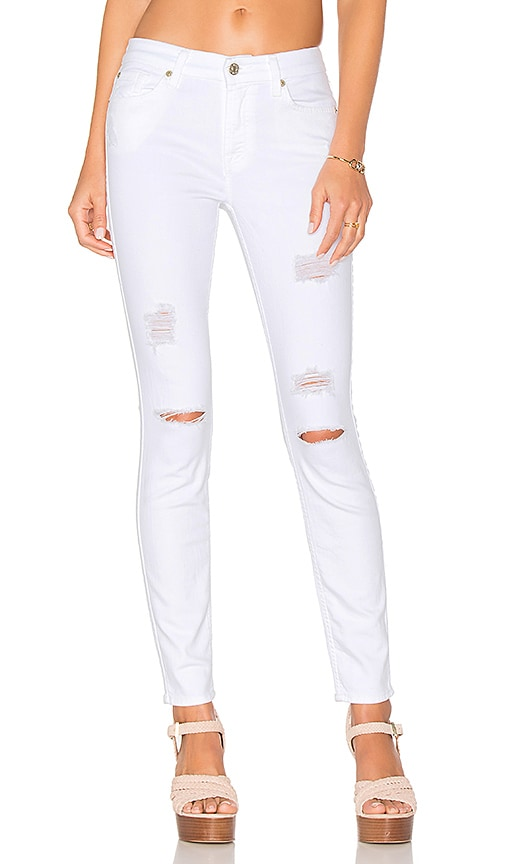 7 For All Mankind The Ankle Skinny in Clean White 3