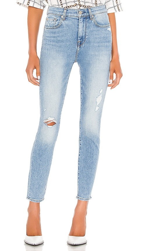 7 For All Mankind High Waist Ankle Skinny With Destroy In Vail Revolve