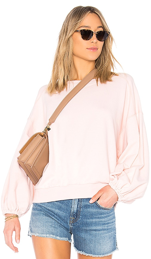 7 For All Mankind Puff Sleeve Sweatshirt in Pink