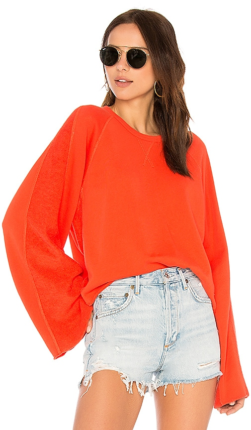 7 For All Mankind Flare Sleeve Crop Sweatshirt in Red