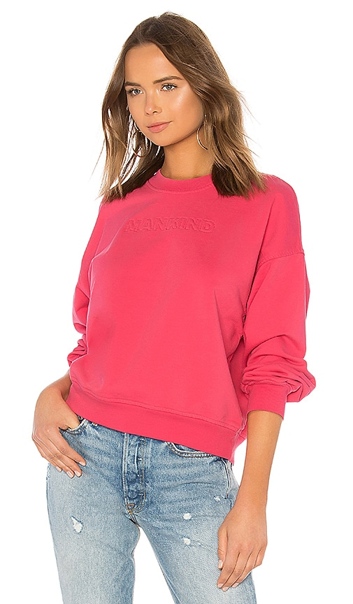 7 For All Mankind We Are Mankind Outline Embroidery Sweatshirt in Pink