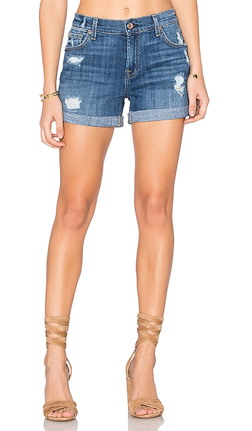 7 For All Mankind Relax Mid Roll Short in Blue