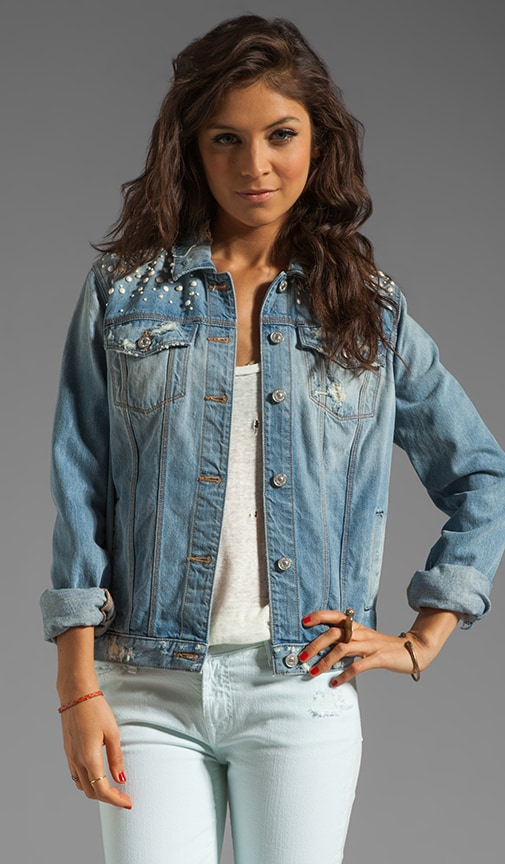 7 For All Mankind Denim Jacket with Pearls