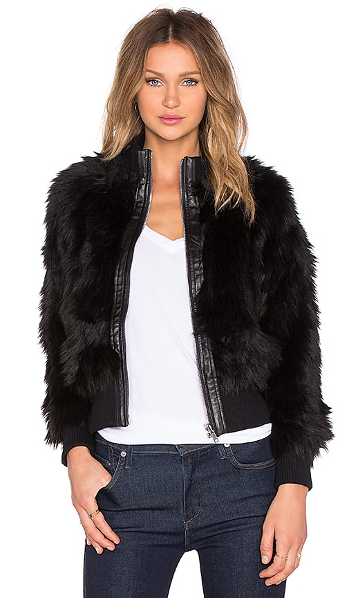 7 For All Mankind Luxe Faux Fur Jacket in Black