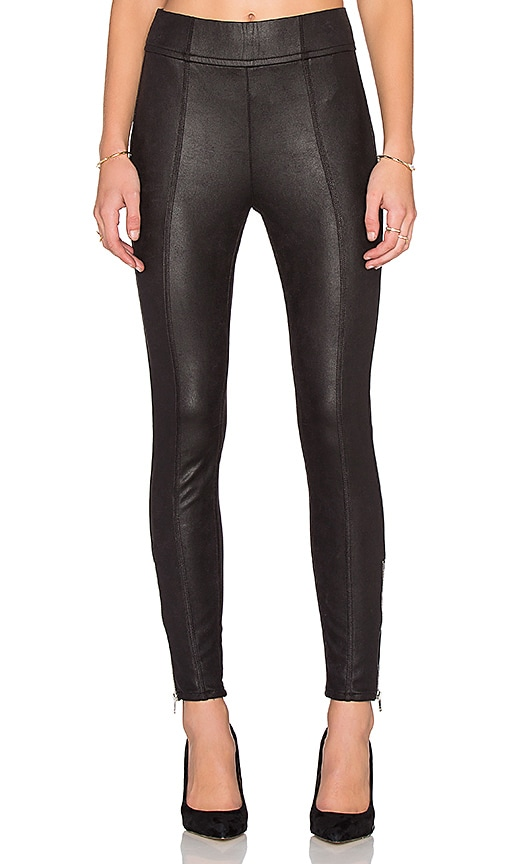 7 For All Mankind Seamed Zip Legging in Black