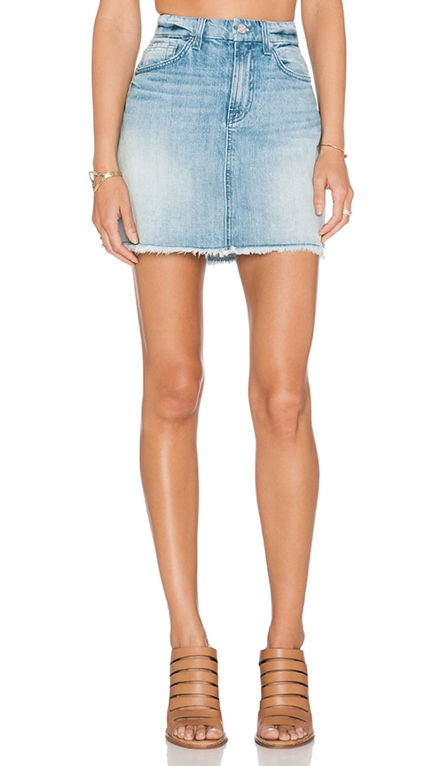 32228fab8ff4e 7 For All Mankind A Line Mini Skirt in Aura Blue Heritage