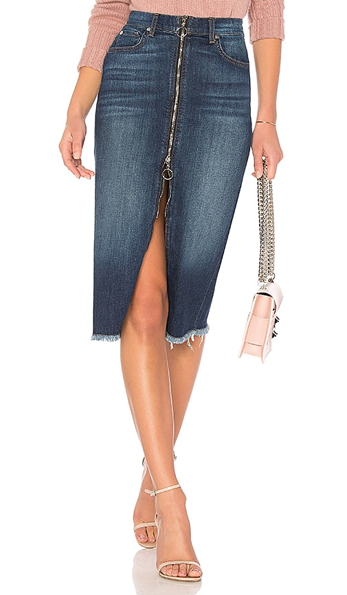 7 For All Mankind Long Zip Front Skirt in Nightfall
