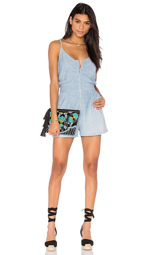 7 For All Mankind Zip Front Romper in Blue