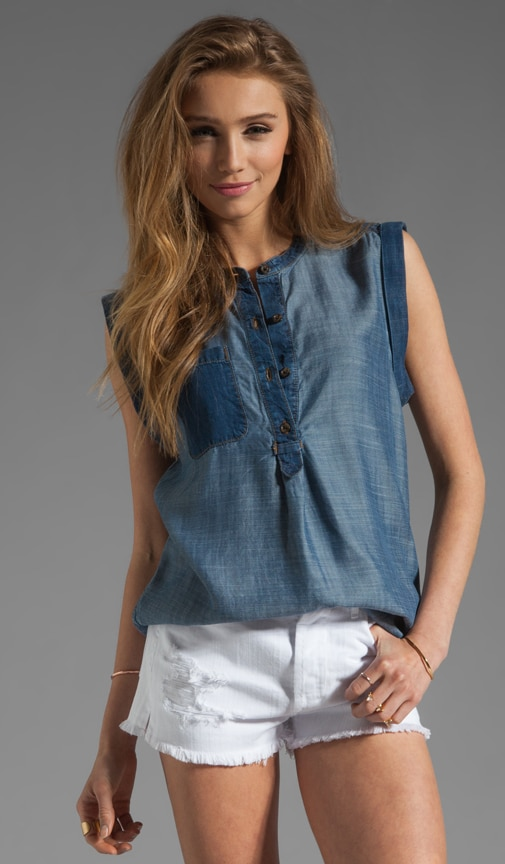 Colorblocked Sleeveless Denim Henley