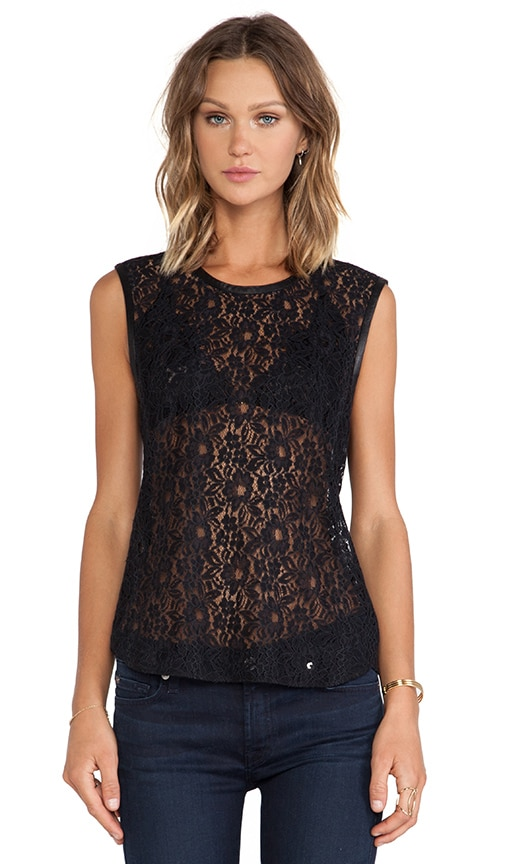Lace Shell w/ Leather Trim