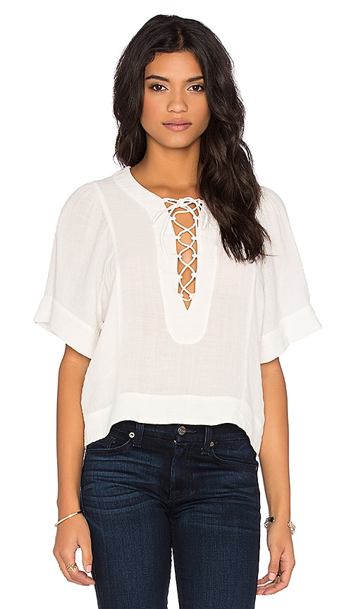 7 For All Mankind Short Sleeve Flutter Top in White