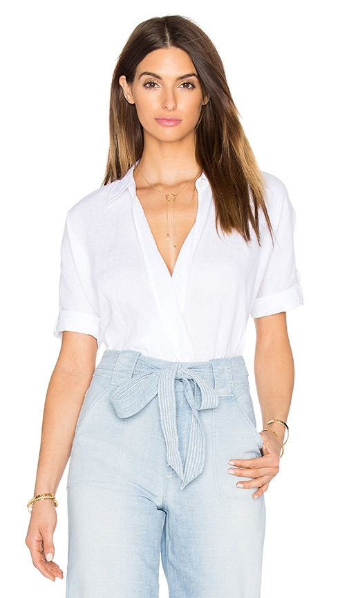7 For All Mankind Cross Front Top in White