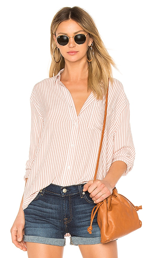 7 For All Mankind High Low Tie Shirt in Pink