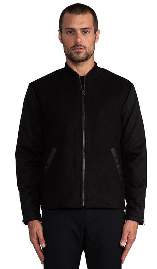 Quilted Sleeve Minimalist Varsity Jacket