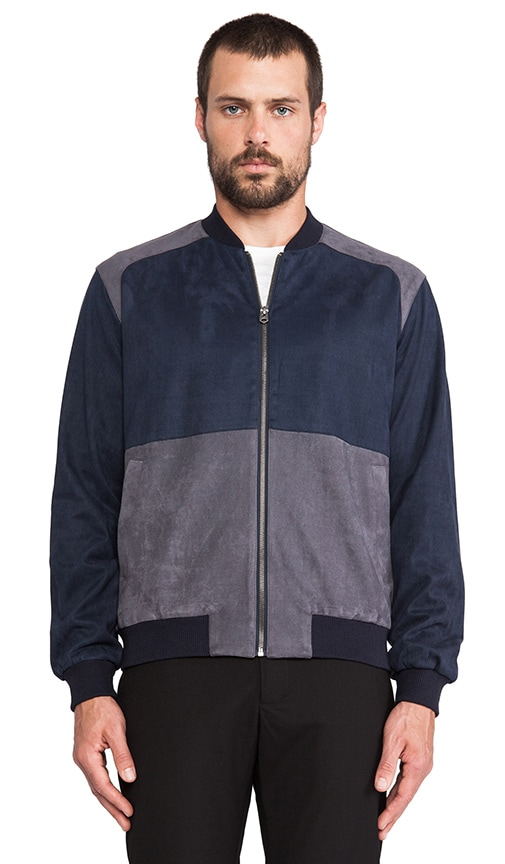 Colorblock Faux Suede Bomber