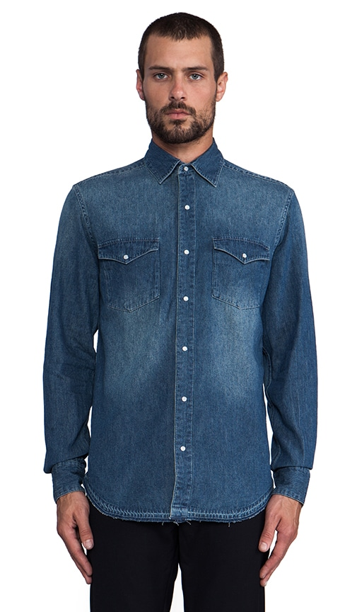 Frayed Bottom Denim Shirt