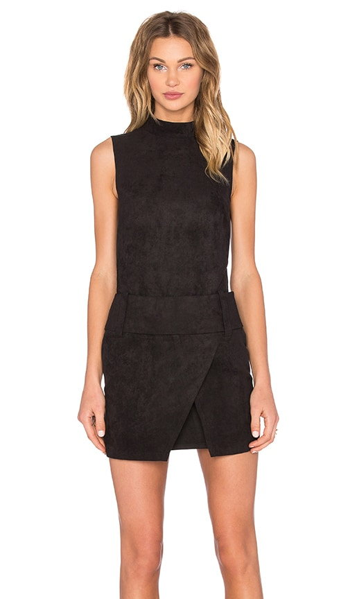 Shades of Grey by Micah Cohen Drop Waist Mini Dress in Black Ultrasuede