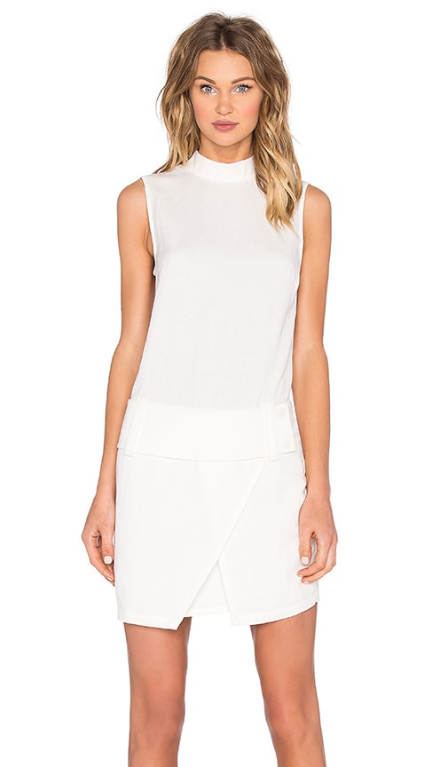 Shades of Grey by Micah Cohen Drop Waist Mini Dress in White Linen