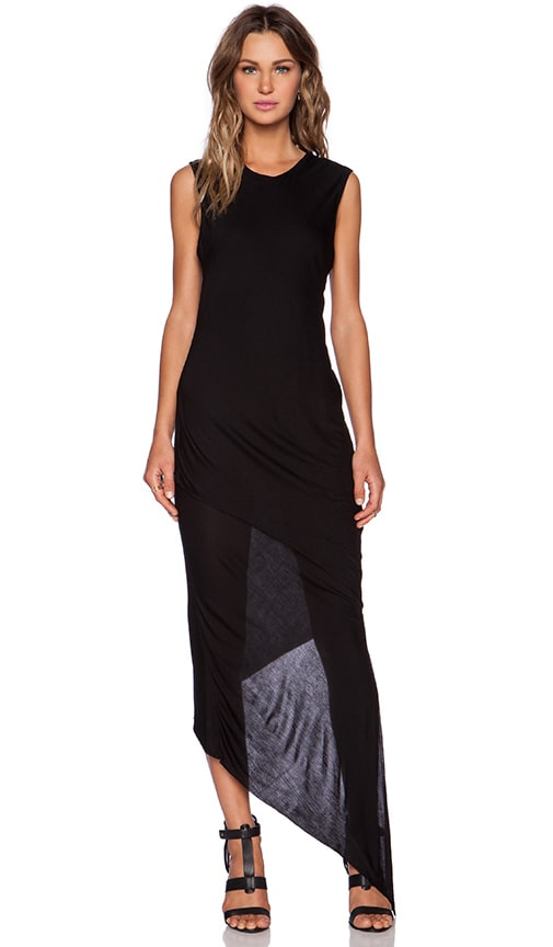 Shades of Grey by Micah Cohen Asymmetric Maxi Dress in Black