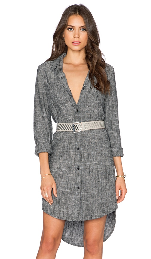 Shades of Grey by Micah Cohen Oversized Shirtdress in Black Chambray