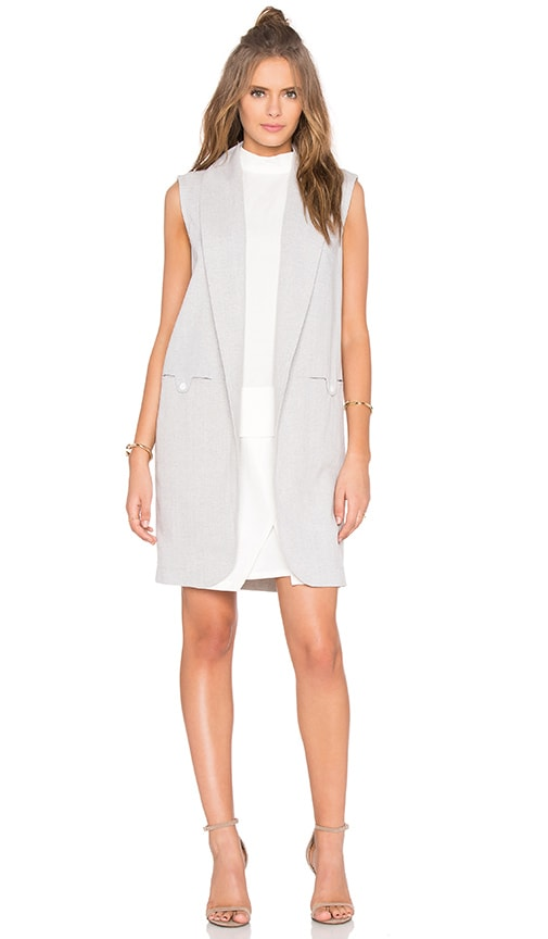Shades of Grey by Micah Cohen Sleeveless Coat in Light Grey Herringbone