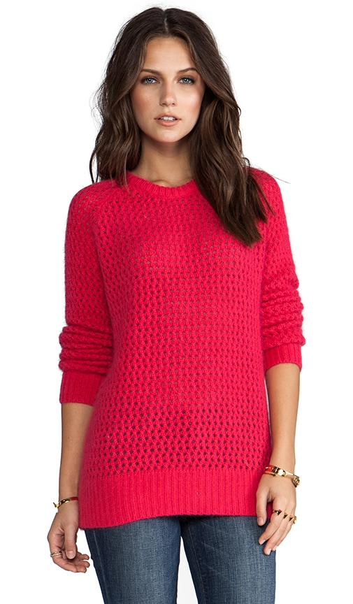 Long Sleeve Open Stitch Fuzzy Sweater