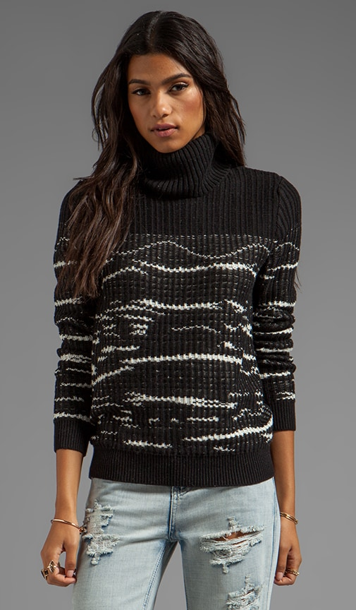 Reverse Stitch Turtleneck Pullover