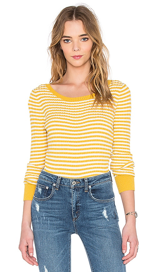 SHAE 90's Rib Pullover Sweater in Sunflower Combo