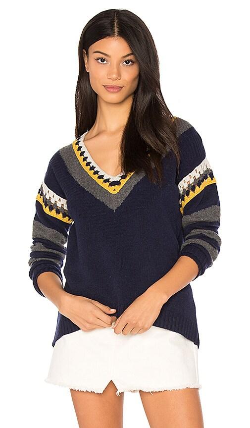 SHAE Crochet V Neck Sweater in Navy