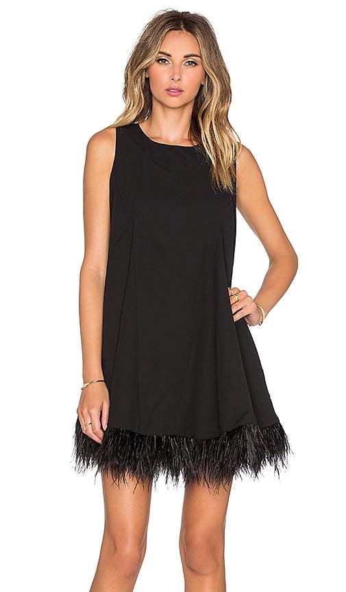 Shakuhachi Sleeveless Feather Down Godet Panel Feather Dress in Black