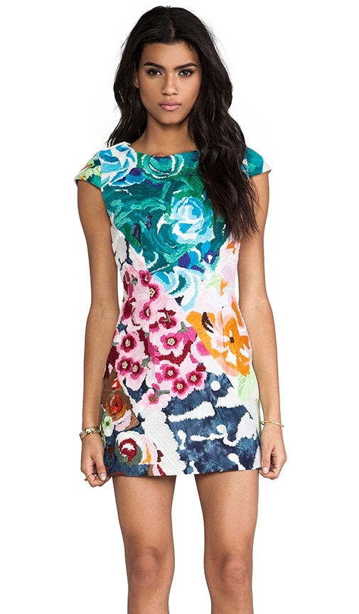 Flower Bomb Embroidered Square Dress