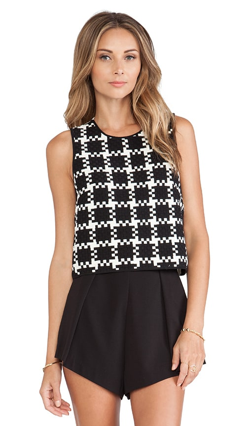 Check Weave Sleeveless Top