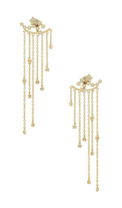 SHASHI Star Cluster Earrings in Metallic Gold