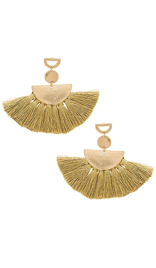 SHASHI Ava Tassel Earrings in Metallic Gold