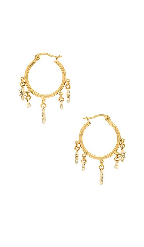 SHASHI Tori Charm Hoop Earrings in Metallic Gold