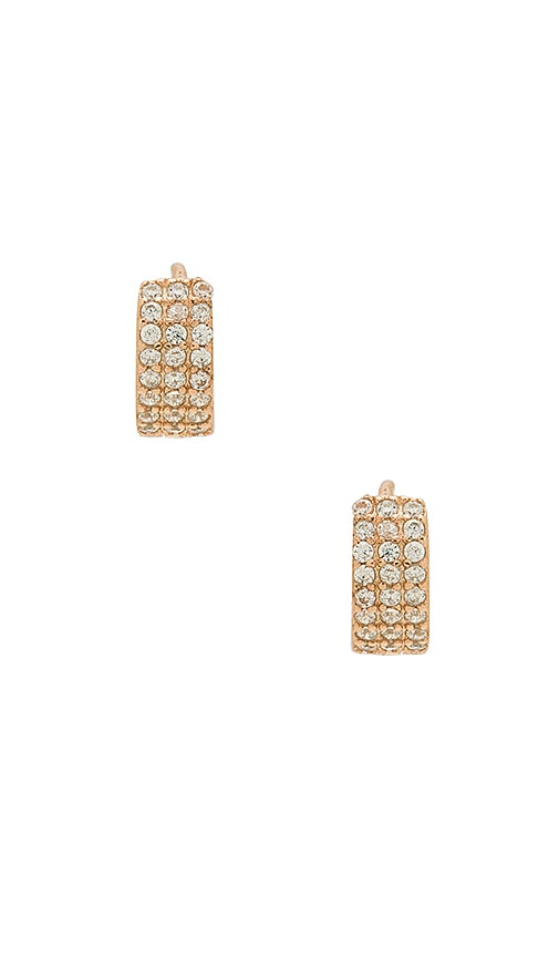 SHASHI Lara Huggie Earrings in Metallic Copper
