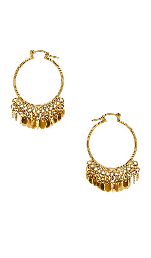 SHASHI Disc Drop Hoop Earrings in Metallic Gold