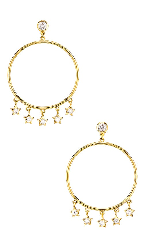 Star Dangle Hoop Earrings