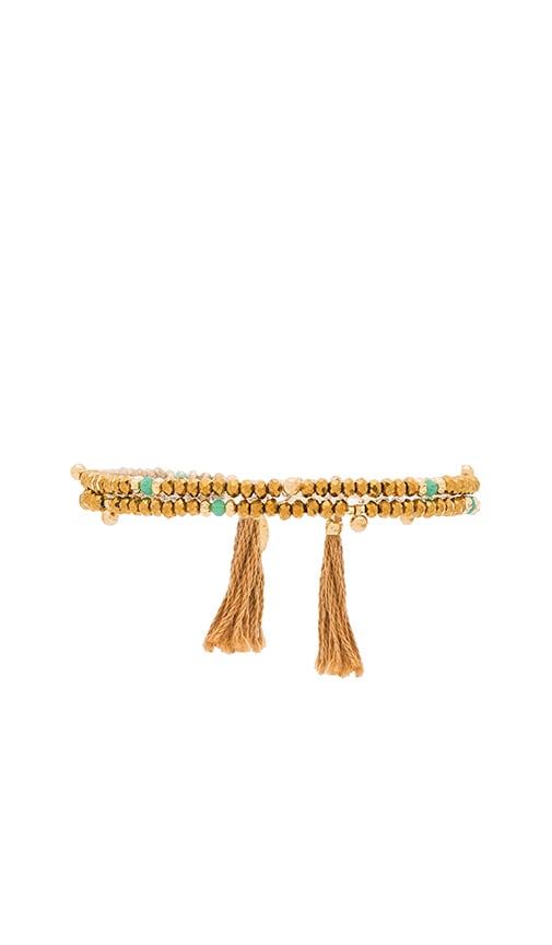 SHASHI Eliza Crystal Wrap Bracelet in Metallic Gold