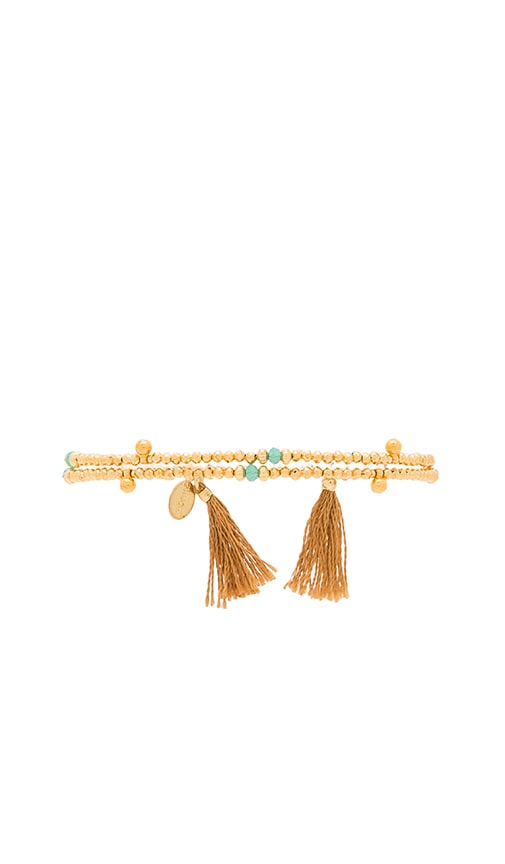 SHASHI Eliza Gemstone Wrap Bracelet in Metallic Gold