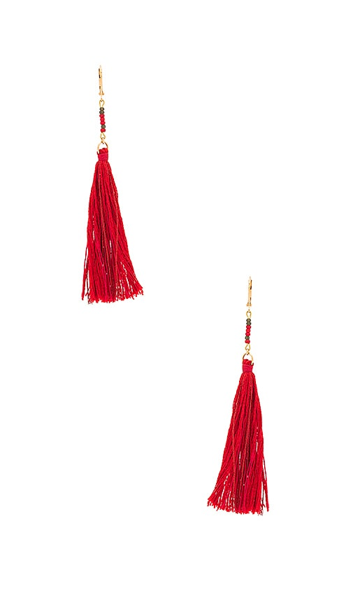 SHASHI Carolina Tassel Earring in Red