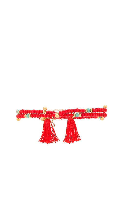 SHASHI Eliza Crystal Wrap Bracelet in Red