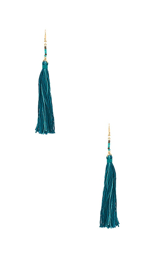 SHASHI Carolina Tassel Earring in Teal