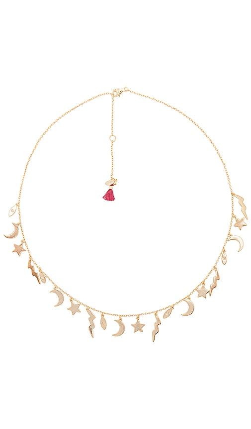 SHASHI Lightning Charm Necklace in Metallic Gold