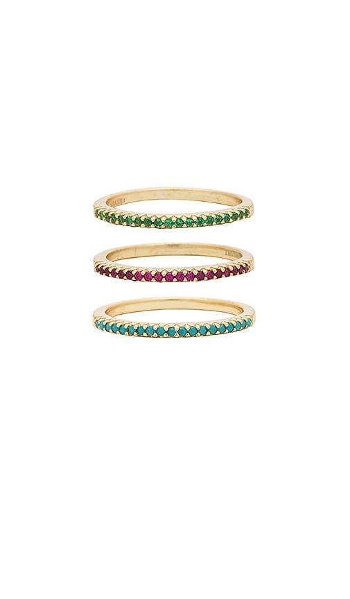 SHASHI Diamond Bar Ring Set in Metallic Gold
