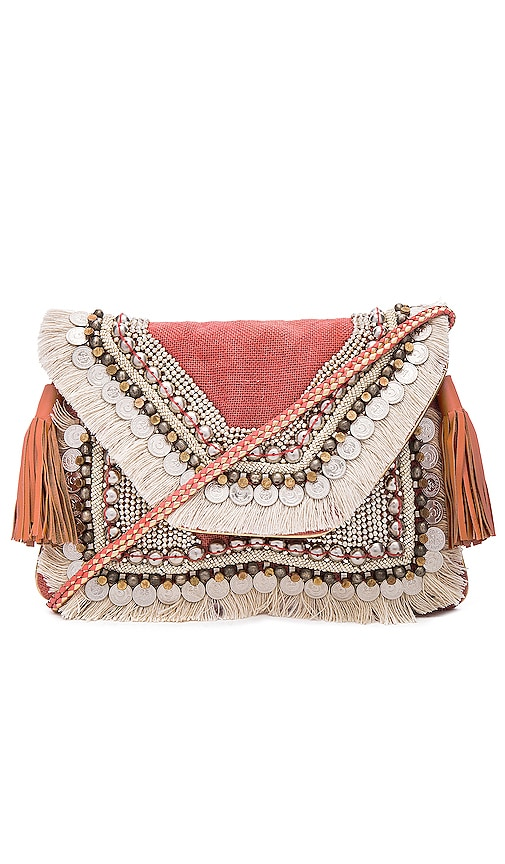 SHASHI Lella Clutch in Coral