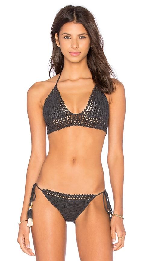 SHE MADE ME Bralette Bikini Top in Charcoal