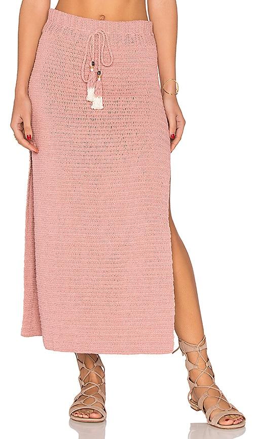 SHE MADE ME Jannah Crochet Midi Skirt in Blush