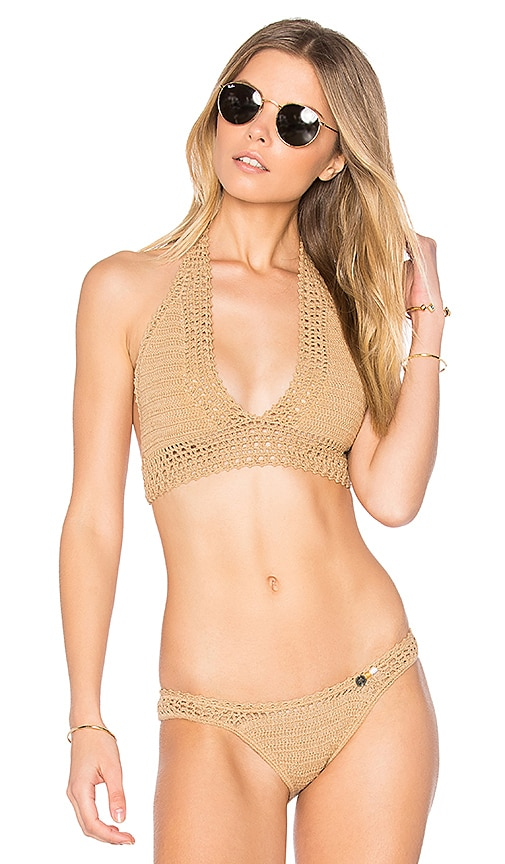 SHE MADE ME Crochet Wide Triangle Top in Beige